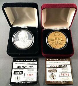 2 MEDALLION LOT/ JOE MONTANA / NFL / Highland Mint .999 FINE SILVER /BRONZE