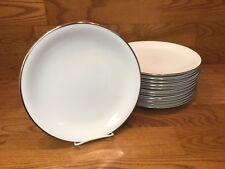 "12 Vtg. Noritake 5594 SILVERDALE 10 1/2"" Dinner Plates White w/Platinum Trim"