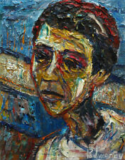 ABSTRACT MODERN█ORIGINAL█OIL█PAINTING█IMPRESSIONIST ART PORTRAIT OUTSIDER BOY