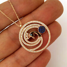 Peacock, TURKISH ROSE 925K STERLING SILVER TOPAZ NECKLACE #0045 for GOOD LUCK