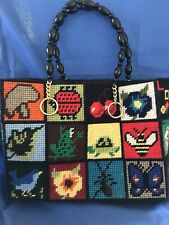 Vintage Hand Stitched Needlepoint Purse, Beaded Handle, 70's, Never Used!!!