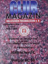 Programm 1999/00 HFC Hallescher FC - Burger BC 08