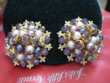 "1956-60s LERU Signed PURPLE STONE w Imitation PEARLS 1.5"" Cluster Clip EARRINGS"