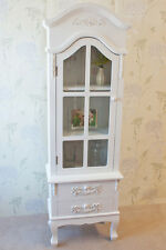 Elegant Limoges Tall Glazed Display Cabinet in White Painted Finish French Style