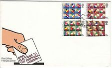 LETTRE FDC ROYAUME UNI SERIE TIMBRE 888 A 891 ELECTION PARLEMENT EUROPEEN 1979