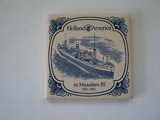 VINTAGE DELFT HOLLAND AMERICA LINES SS MAASDAM III PORCELAIN TILE / COASTER