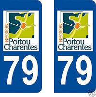 2 stickers autocollants plaque d'immatriculation Département 79