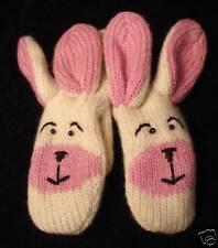 BUNNY MITTENS knit RABBIT white pink ladies ADULT puppet LND animal deLux GLOVES