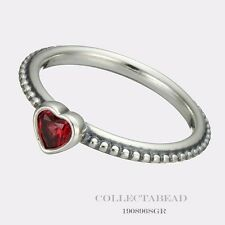 Authentic Pandora Silver Golden Red Synthetic Ruby Heart Ring Size 50 190896SGR