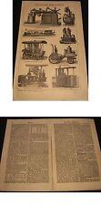 Holzstich um 1898-Petroleummotoren diverse Modelle.Original Bild und Bericht