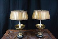 Vintage brass Table Lamp with gold stripe shade on Marble Base