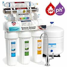 11-Stage Reverse Osmosis Water Filtration System UV Ultraviolet Alkaline 50 GPD