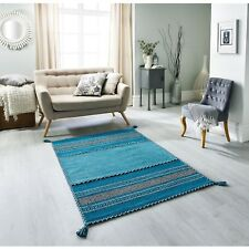 Kelim Ethnic Style Rug Teal Blue in various sizes & cushion covers