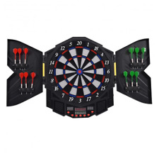 Electronic LED Display 12 Soft Tip Dart Board Cabinet Set Bar Game Room Electric