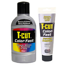 T CUT COLOUR FAST CAR PAINT RESTORER POLISH WAX + SCRATCH REMOVER SET - SILVER
