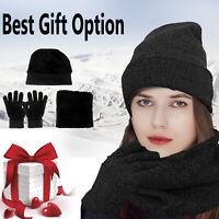 Beanie Women Winter Knit Warm Hat Scarf Windproof Gloves Set Neck Thmeral Ski US