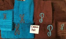 SET OF 3 MONOGRAMED EMBROIDERED TOWELS HAND BATH &CLOTH PERSONALIZED