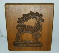 Hand Carved Folk Art Rustic Reindeer Deer Buck Maple Stamp Springerle Mold Press