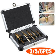 3/5/6PCS HSS Cobalt Hole Metal Step Drill Bit Set Titanium Cutter Cone K