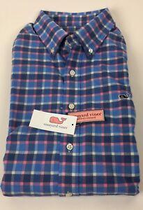 Vineyard Vines Bahama Breeze Plaid Mens' Cotton Soft Flannel Slim Fit Shirt XL