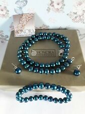 Honora Sterling Silver Necklace Earings Stretch Bracelet Pearl Set In Box