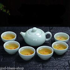 7pcs/lot Chinese tea set green porcelain tea pot tea cups fish set on sales 2017