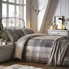 Dreams & Drapes Colville Check 100% Brushed Cotton Duvet/Quilt Cover Set Grey