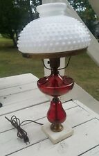 Antique Lamp Cranberry, Electric, Marble Base w/milk glass hobnail shade
