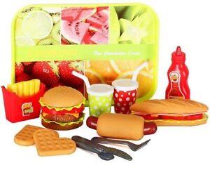 Kids Pretend Play Burger Hotdog Playset Kitchen Fast Food Play Set