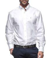 Tommy Hilfiger Men's 100% Cotton Dress Shirt Slim Fit Broadcloth 24F1608 White