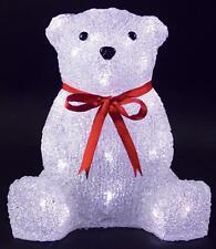 Indoor 26cm Led Acrylic Bear Xmas Decoration Christmas Display Light Up