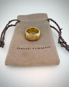 David Yurman 18K Yellow Gold Metro Cable Ring With Pavé Set Yellow Sapphires