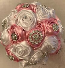 BROOCH BOUQUET & BOUTONNIERE SET, Quinceanera Bouquet, Pink and White Roses