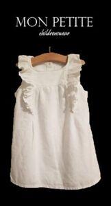 Girls dress white NXT baby 12 18 24 m 2 3 4 5 6 y summer sleeveless frilled