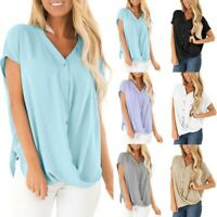 Summer Womens Solid Tops Blouse Ladies V Neck Short Sleeve Loose T-Shirt UK12-20