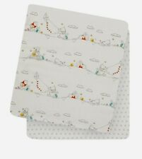WINNIE THE POOH SET OF 2 FITTED SHEET GREY COTBED TODDLER COT & COT BED BEDDING