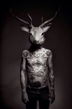 Framed Print - Gothic Tattooed Man Wearing a Stag's Head (Picture Cult Magic)