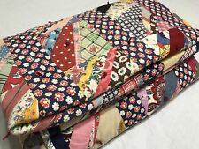 1940s Vintage Novelty Feedsack Fabric Quilt  Scrap Quilting Flour Sack 40s 76x62