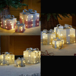 Set of 3 Christmas LED Light Up Frosted Sparkly Present Boxes Home Decoration