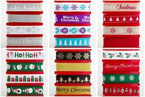 Christmas Ribbon Multipack - Festive Satin & Grosgrain - 16mm x 4 x 2m Packs