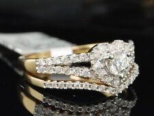 14K Yellow Gold Diamond Heart Engagement Ring Bridal Set 0.76 Ct.