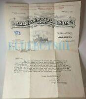 1938 Aberdeen Newcastle & Hull Steam company Headed letter For Wireless operator