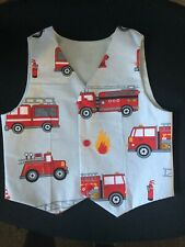 Handmade - Grey Fire Truck Waistcoat Vest With Grey cotton back (Age 2-3 yrs)
