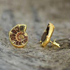Genuine Ammonite Gemstone Fashion Bohemian Design Party Dangle Drop Tiny Earring