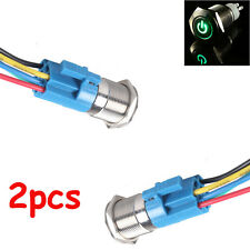2PCS Green LED 16mm 12V Car Metal Push Button Toggle Switch With Socket Hot Sale