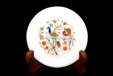 7'' Marble Plate Peacock With Hakik Floral Marquetry Inlay Art Kitchen Gift M369