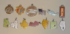 13 Vintage Silver Charms 1964/65 World's Fair 7 States Japan Mexico US Flag +