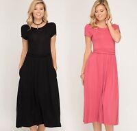 Women's Short Sleeve Midi Knit Dress Waist Shirred Band Side Pockets She + Sky