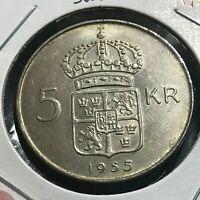 1955 SWEDEN SILVER 5 KRONOR BRILLIANT UNCIRCULATED CROWN