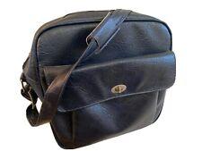 SAMSONITE Sentry Travel Tote Bag Carry On Luggage Overnight Blue Leather Vintage